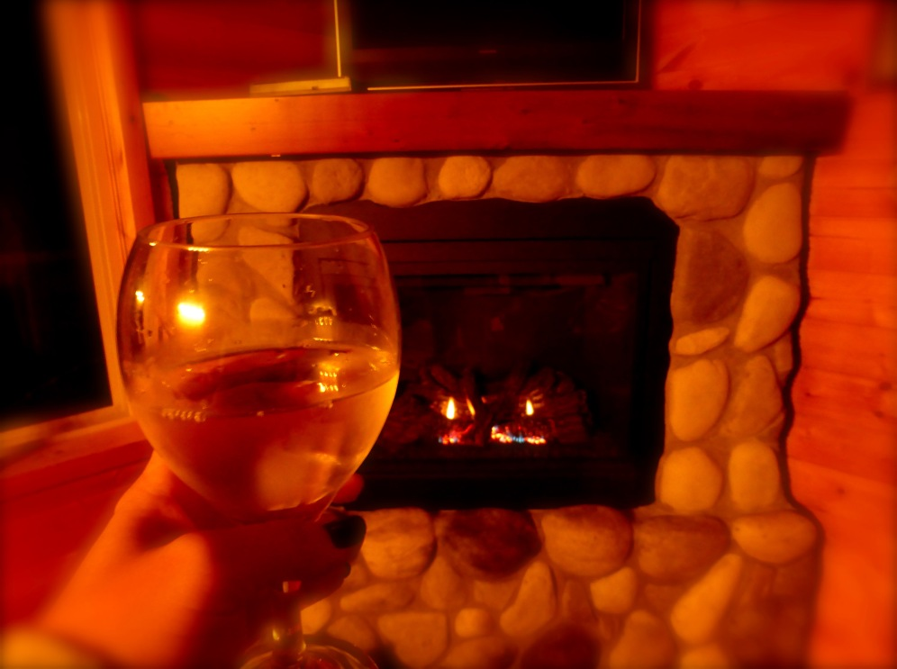 wine, fireplace and a hot tub to return to after an amazing day of hiking, forests, beaches.